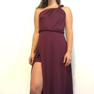 Wine Color Grecian Maxi Dress